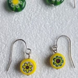 Jewelry - Threepairs of blown glass earrings